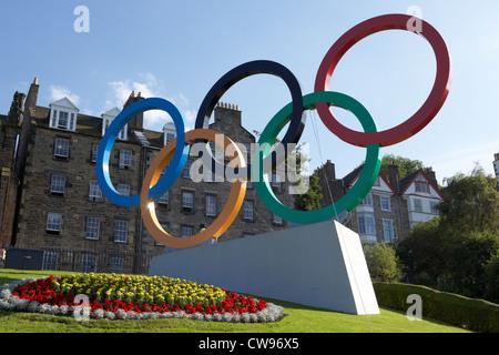olympic rings on the mound during london 2012 in edinburgh scotland uk united kingdom - Stock Photo