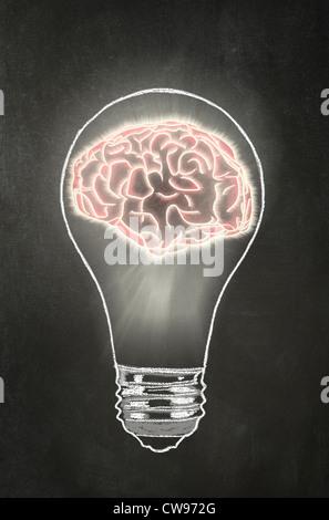 Bright Idea - Concept - Brian inside Bulb illustration in chalk on a blackboard - Stock Photo