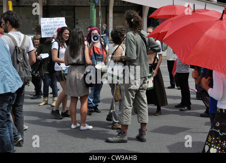May 1 - Workers' Day demonstration in Lisbon, Portugal. Before the march. - Stock Photo