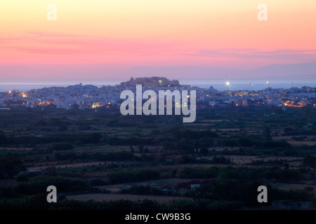 The Chora of Naxos at sunset - Stock Photo