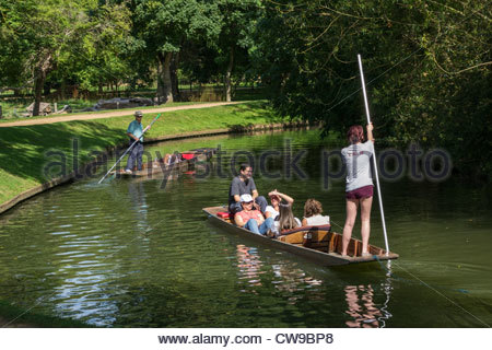 Punting on the River Cherwell in Oxford - Stock Photo