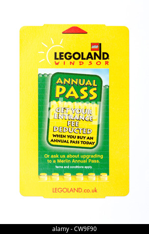 An entrance ticket for Legoland at Windsor in England UK - Stock Photo