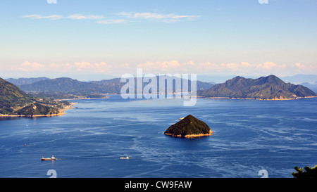 Seto Inland Sea in Japan as seen from Mt. Misen at Miyajima, Japan. - Stock Photo