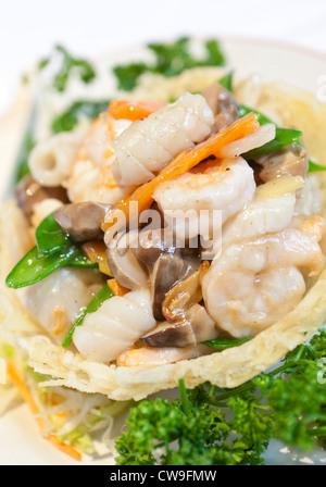 Food from Chung Ying Chinese restaurant, Chinese Quarter, Birmingham, West Midlands, England, UK - Stock Photo