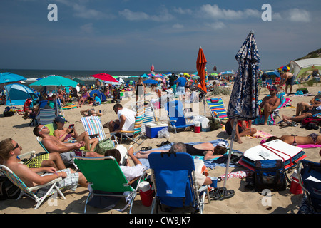 Truro, Massachusetts - The crowded Head of the Meadow Beach in Cape Cod National Seashore. - Stock Photo