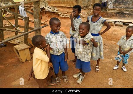 Children in Ntonso, Ghana - Stock Photo
