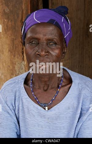 Elderly woman of Gambaga, Ghana - Stock Photo