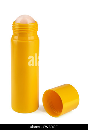 Yellow roll-on deodorant isolated on white - Stock Photo