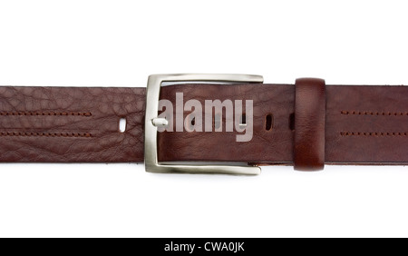 Brown leather belt isolated on white - Stock Photo