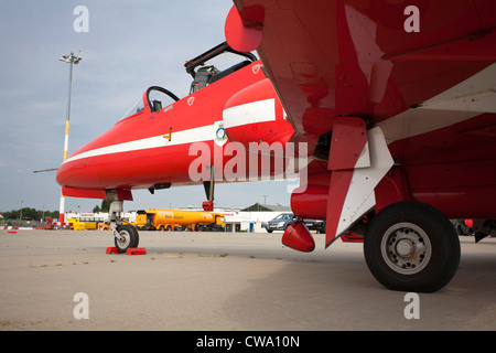 Red Arrows at Manston, Kent - Stock Photo