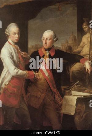 Pompeo Batoni Kaiser Joseph II and Grand Duke Peter Leopold Kunsthistorisches Museum Vienna - Stock Photo