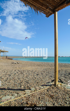 view from shanty on kite-surfer in Red Sea - Stock Photo