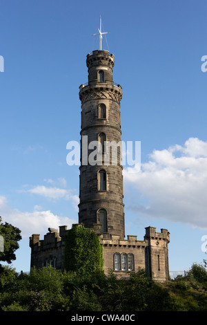 nelson monument on calton hill edinburgh scotland uk united kingdom - Stock Photo