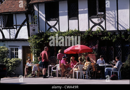 Group of People enjoying Tea in the Village of Chilham Kent England - Stock Photo