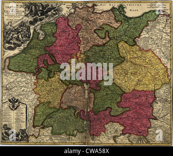 Map of German States, then the Holy Roman Empire, from the early 18th century. - Stock Photo