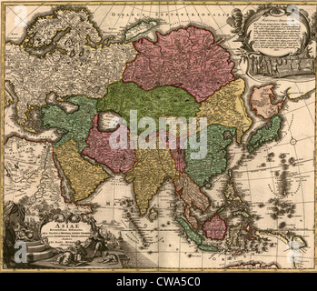 1724 map of Asia and islands of the East Indies. Central and Western Asia are occupied by Tatars. - Stock Photo