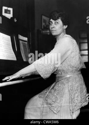 Grace Coolidge, wife of the vice-presidential nominee, plays the piano at her home in Northampton, Massachusetts, - Stock Photo