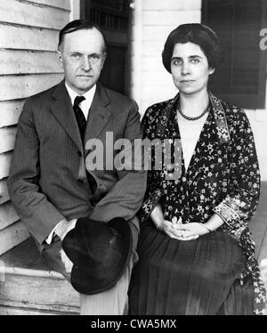President Calvin Coolidge and First Lady Grace Coolidge at his father's farm house in Plymouth, Vermont, 1923. Courtesy: - Stock Photo