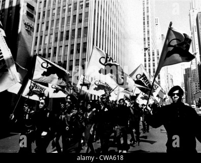 NEW YORK: Black Panther Party march along 42nd Street en route to a scheduled news conference at United Nations - Stock Photo
