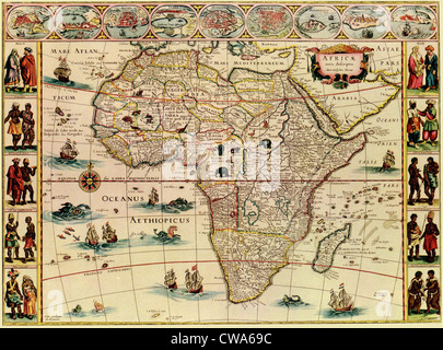 Map of Africa from 1660s. Top border depicts African cities, and side borders show men and women of African peoples. - Stock Photo