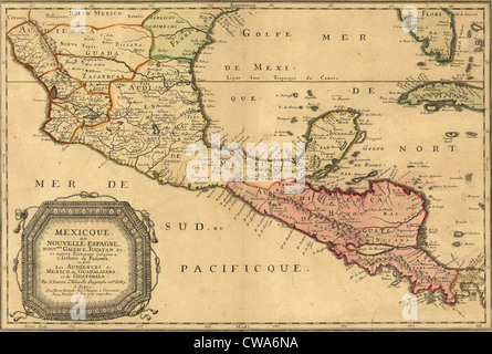 1656 map of Central America and Mexico, showing many modern place names and boundaries. - Stock Photo