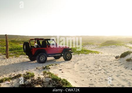 Off road vehicle on sand dunes - Stock Photo