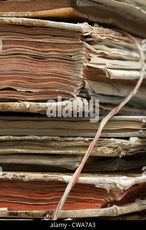 Berlin, Detail of a pile of old books - Stock Photo