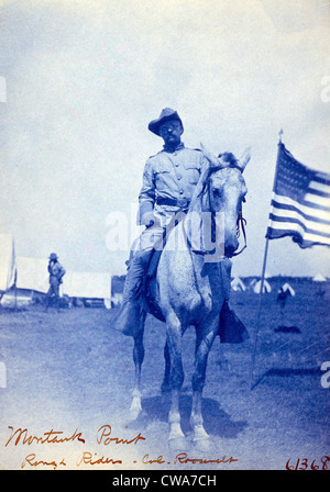 Colonel Theodore Roosevelt on horseback. Roosevelt organized the 1st Volunteer Cavalry, known as the Rough Riders - Stock Photo