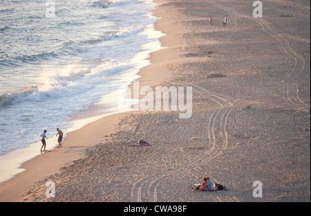 Sunset on the beach at Cabo Trafalgar - Stock Photo