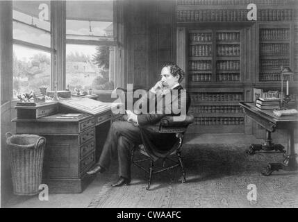 Charles Dickens (1812-1870) in his study at Gad's Hill Place. - Stock Photo