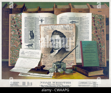 Noah Webster (1758-1843) created an 1828 dictionary with spelling conventions that differentiated America English - Stock Photo