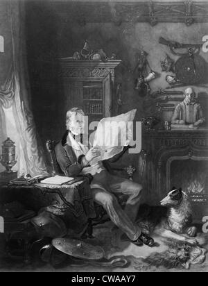 Sir Walter Scott (1771-1832), Scottish writer in his study at Abbotsford, surrounded by historical weapons, portraits, - Stock Photo
