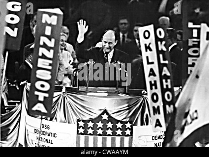 ADLAI STEVENSON, accepts the Democratic nomination to run for President. The delegates nominated him on the first - Stock Photo