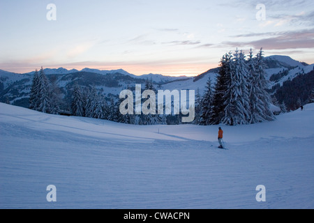 Niederau, view over the mountains from a ski slope from Wildschoenau - Stock Photo