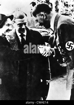 DUCHESS OF WINDSOR WALLIS SIMPSON, with the Duke of Windsor and Adolf Hitler. Courtesy: CSU Archives / Everett Collection - Stock Photo