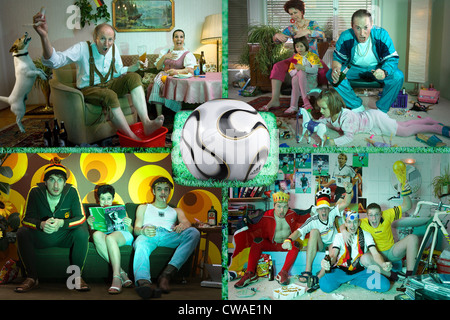 Riedlingen, football fans in front of TV - Stock Photo