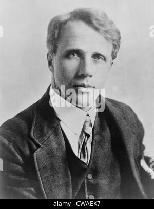 Robert Frost (1874-1963), American poet, ca. 1915. In 1913 Frost published his first book of poems, A BOYS WILL, - Stock Photo