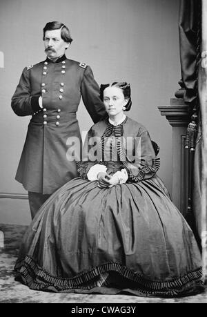 George McClellan and his wife, Ellen Mary Marcy in 1862.  McClellan's correspondence with his wife reveals his grandiosity - Stock Photo