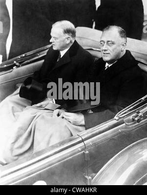 Franklin Delano Roosevelt and Herbert Hoover in on way to Roosevelt's inauguration. Hoover did not speak because - Stock Photo