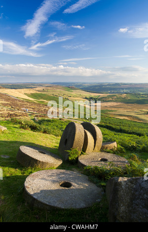 Abandoned millstones below Stanage Edge, Peak District, Derbyshire, England, UK - Stock Photo