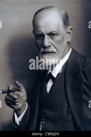 Sigmund Freud (1856-1939) smoking cigar in a classic early 1920s portrait. - Stock Photo