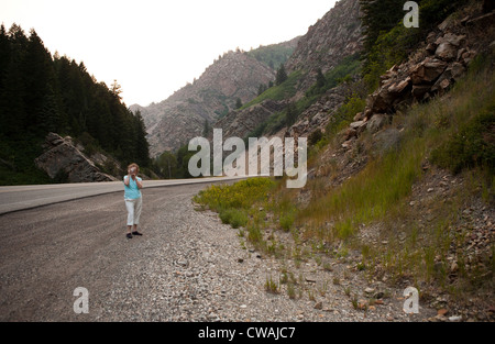 Woman taking photograph in Big Cottonwood Canyon, Salt Lake County, Utah, USA - Stock Photo