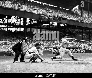 Joe DiMaggio breaks the record for hitting safely in consecutive games. This hit brought his streak to 42 games, - Stock Photo