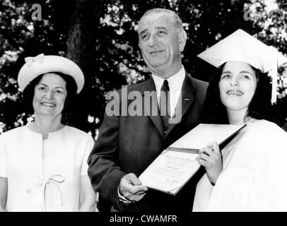 Mrs. Lady Bird Johnson, President Johnson, and daughter Luci following her graduation from National Cathedral School - Stock Photo