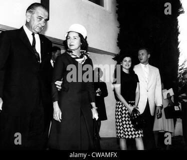 President and Mrs Johnson Johnson, leave church along with her daughter Luci and her husband Pat Nugent. October - Stock Photo