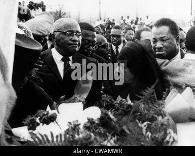 A mourning Reverend Martin Luther King Sr., Alberta Williams King, and A.D. King, at the funeral for Dr. Martin Luther King Stock Photo