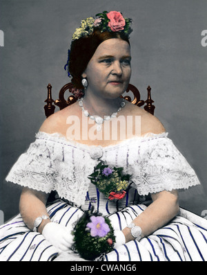 Mary Todd Lincoln (1818-1882), wife of President Lincoln, at age 45, while she was First Lady.  Portrait by Mathew - Stock Photo
