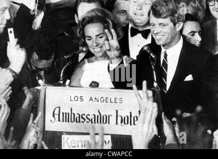 Ethel Kennedy, Senator Robert F. Kennedy, at the Ambassador Hotel just before he was assassinated, Los Angeles, - Stock Photo