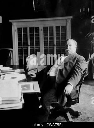 William Taft, (1857-1930), U.S. President 1909-1913, at his desk in the White House, Washington D.C., 1910.. Courtesy: - Stock Photo