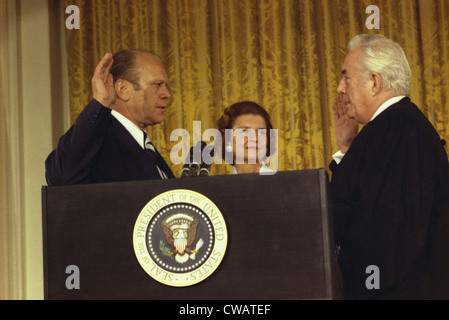 Gerald R. Ford is sworn in as the 38th President of the United States after the resignation of Richard Nixon on - Stock Photo
